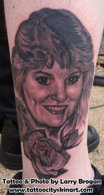 Tattoos - Portrait Tattoo of Josh's Mother with roses by Larry Brogan - 70755