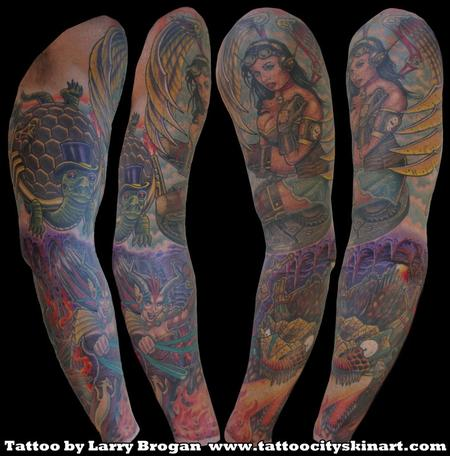 Tattoos - Steam Punk Heaven & Hell Angel Demon Sleeve by Larry Brogan - 70832