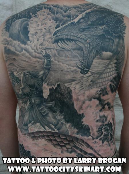 Tattoos - Thor vs the Midguard Serpent Backpiece - 77608