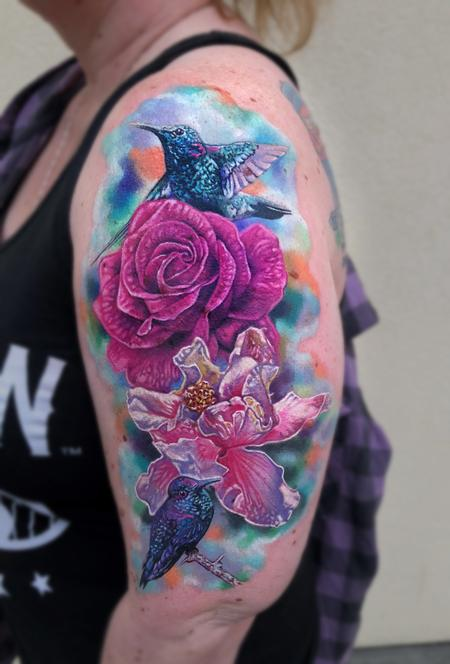 Tattoos - Rose, Hibiscus, Hummingbirds - 132453