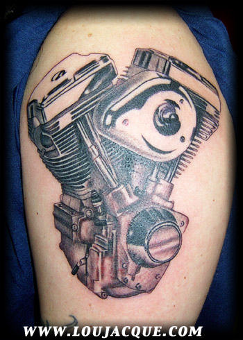 Tattoos - Engine in black and grey - 8533