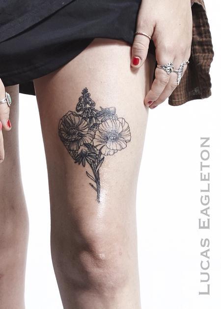 Tattoos - Blackwork Flower Bouquet - 115402