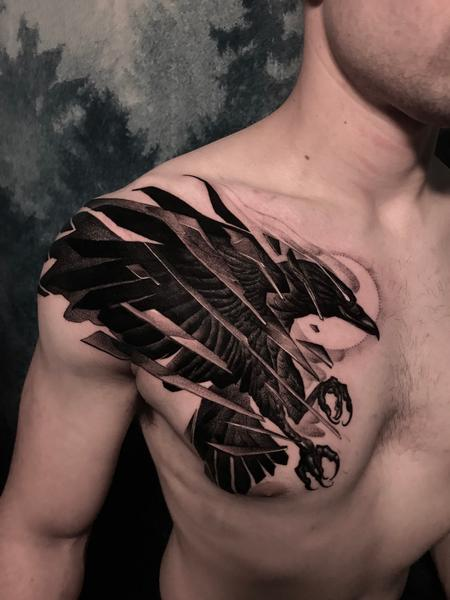 Tattoos - Blackwork crow - 141582