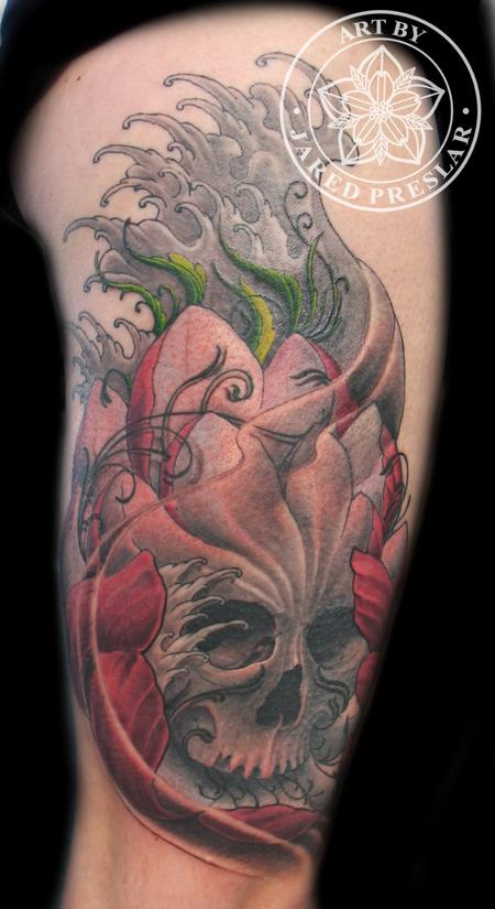 Jared Preslar - The Skullotus! A skull and lotus tattoo
