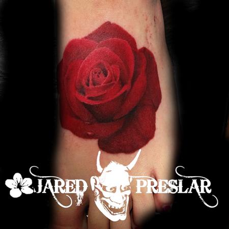 Jared Preslar - Rose Flower Tattoo on Foot