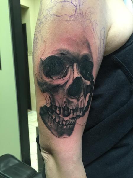 Jared Preslar - Afterlife serenity skull half sleeve tattoo in progress