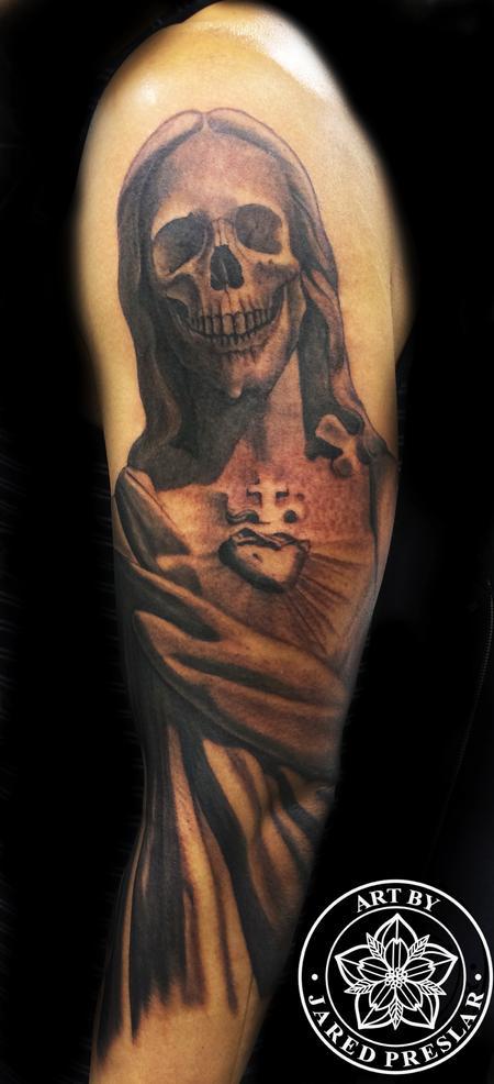 Lucky Bamboo Tattoo : Tattoos : Black and Gray : Skull Jesus Tattoo