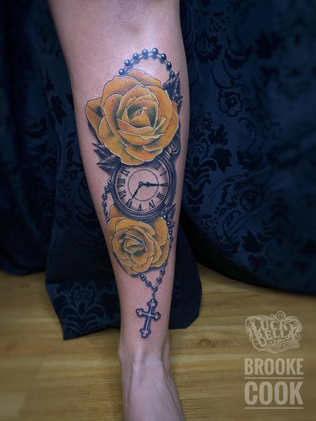 Tattoos - Yellow Roses and Pocket Watch  - 142238