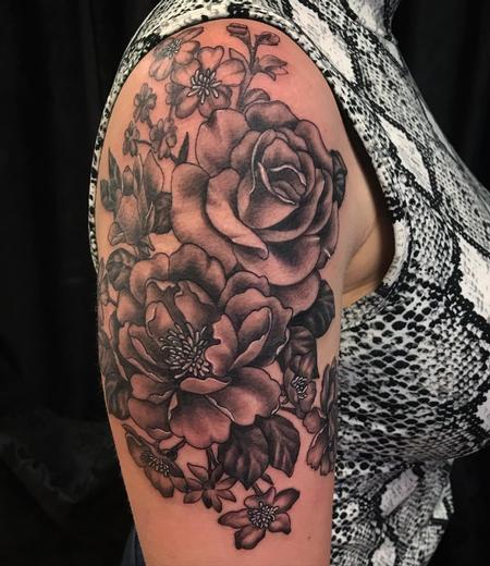 Howard Neal - Black and Grey Floral Half Sleeve by Howard Neal at Lucky Bella Tattoos in North Little Rock, AR