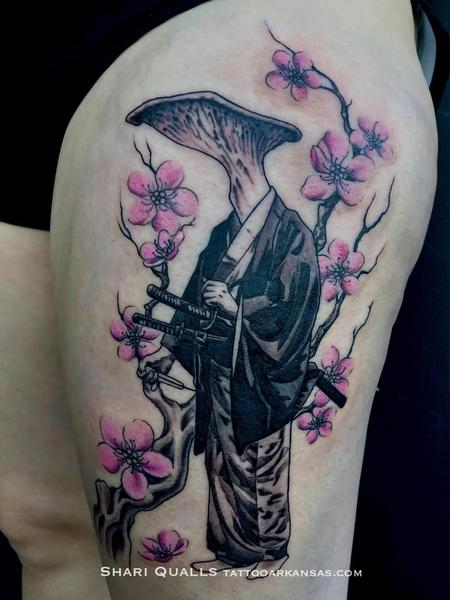 Tattoos - Mushroom Samurai by Shari Qualls at Lucky Bella Tattoos in North Little Rock, Arkansas - 142323