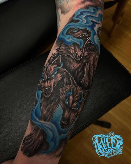 Tattoos - Cerberus Tattoo by Howard Neal at Lucky Bella Tattoos in North Little Rock, Arkansas - 142656