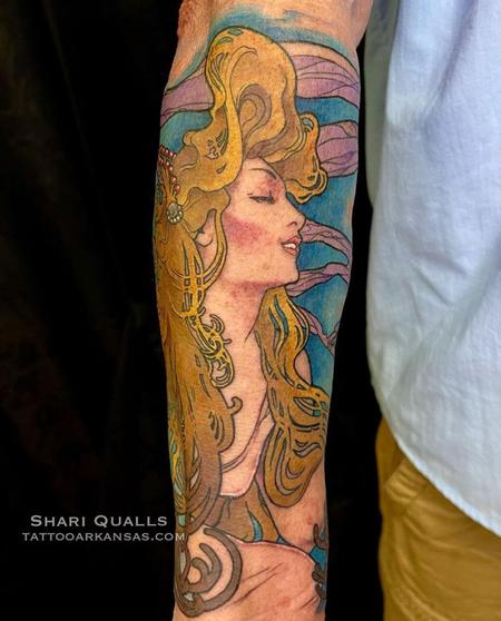 Tattoos - Alphonse Mucha Inspired Tattoo by Shari Qualls at Lucky Bella Tattoos in North Little Rock, Arkansas  - 142657