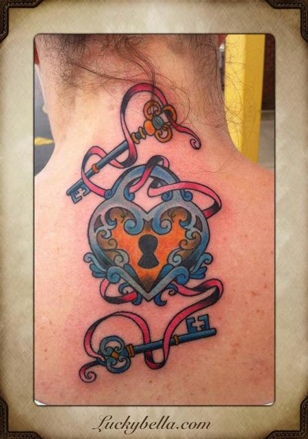 Tattoos - heart and 2 keys - 64480