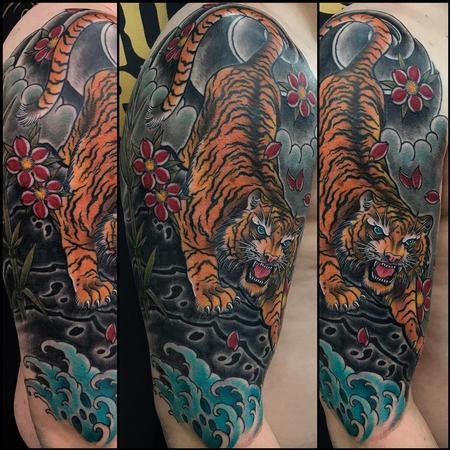 Tattoos - Asian Tiger Half Sleeve with Finger Waves  - 137597