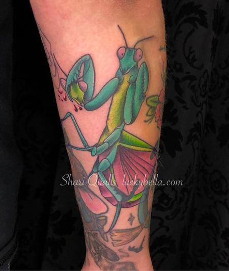 Tattoos - Praying Mantis by Shari Qualls at Lucky Bella Tattoos in North Little Rock Arkansas - 137608