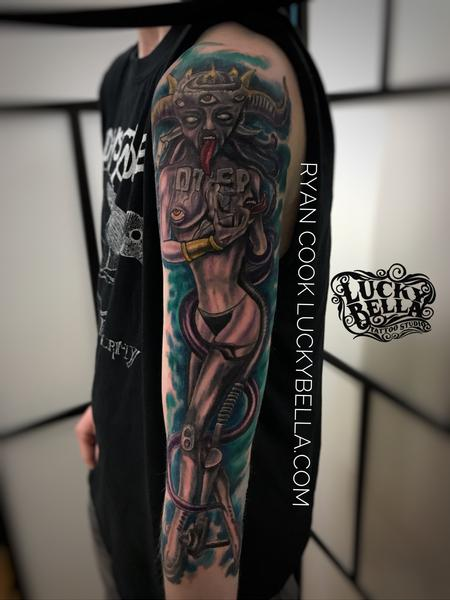 Tattoos - Otep Sleeve by Ryan Cook at Lucky Bella Tattoos in North Little Rock  - 137562