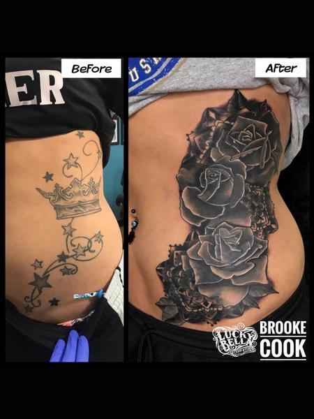 Tattoos - Black and Gray Roses Coverup by Brooke Cook at Lucky Bella Tattoos in North Little Rock Arkansas - 137439