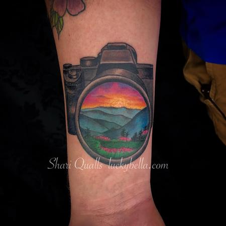 Tattoos - Sunset Scene within Camera Lens by Shari Qualls at Lucky Bella Tattoos in North Little Rock Arkansas - 137593
