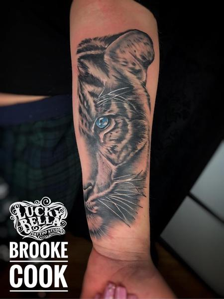 Tattoos - Half Tiger Face by Brooke Cook at Lucky Bella Tattoos in North Little Rock Arkansas - 137594