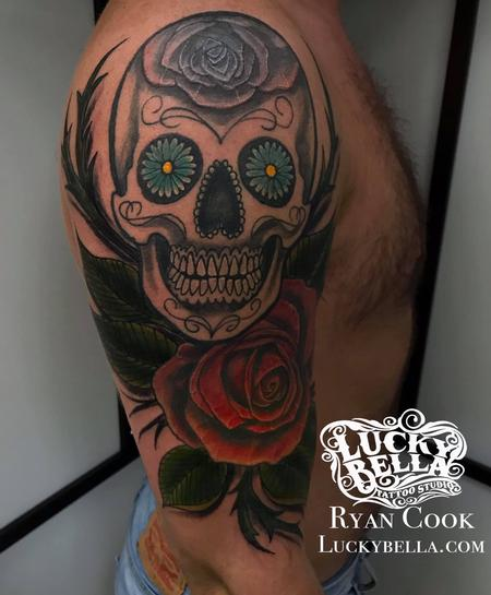 Tattoos - Sugar Skull and Roses by Ryan Cook at Lucky Bella Tattoos in North Little Rock  - 137458