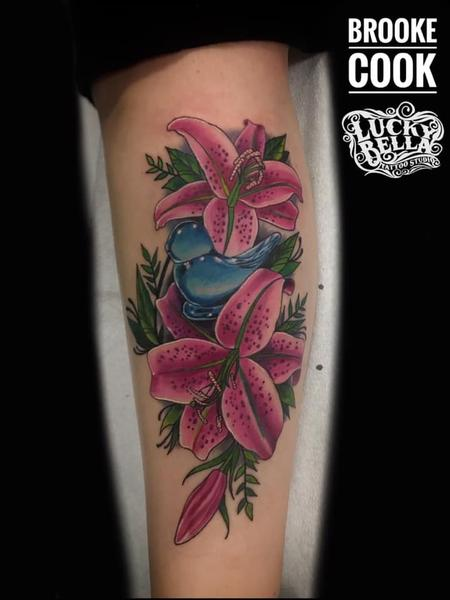 Brooke Cook - Bluebird of Happiness and Pink Lilies by Brooke Cook at Lucky Bella Tattoos in North Little Rock Arkansas