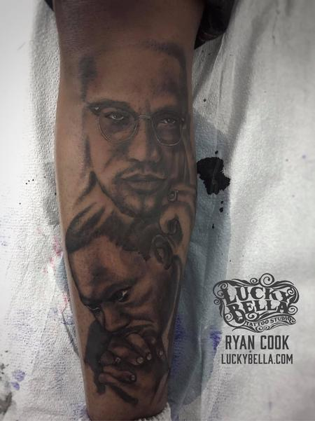 Tattoos - MLK and Malcolm X Portraits by Ryan Cook at Lucky Bella Tattoos in North Little Rock  - 137626
