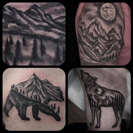Tattoos - Mountain Collage by Ryan Cook at Lucky Bella Tattoos in North Little Rock Arkansas  - 137541