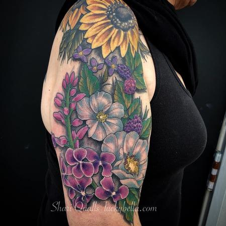 Tattoos - Flower Half Sleeve by Shari Qualls at Lucky Bella Tattoos in North Little Rock Arkansas - 137669