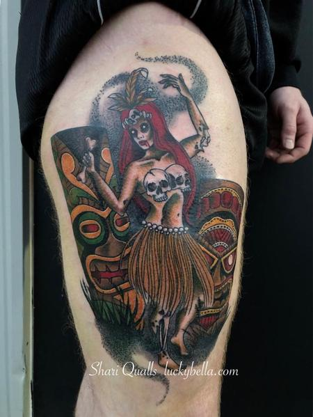 Tattoos - Zombie Tiki Girl by Shari Qualls at Lucky Bella Tattoos in North Little Rock Arkansas - 137899