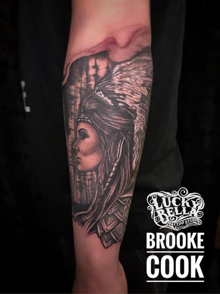 Tattoos - Native American Girl with Headdress by Brooke Cook at Lucky Bella Tattoos in North Little Rock Arkansas - 137939