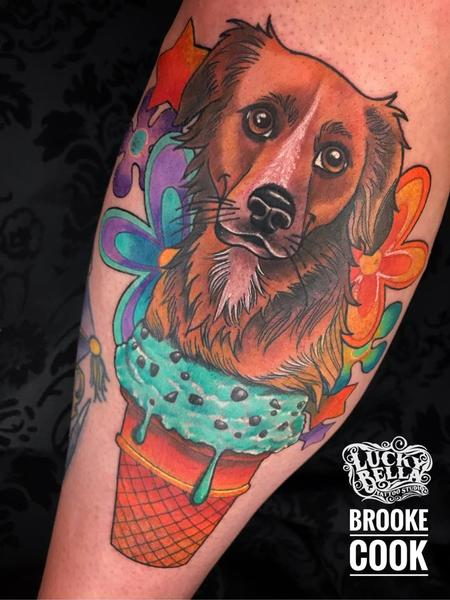 Tattoos - Pet Portrait in Ice Cream Cone with Flowers by Brooke Cook at Lucky Bella Tattoos in North Little Rock Arkansas - 138073
