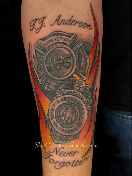Tattoos - Firefighter's Tribute by Shari Qualls at Lucky Bella Tattoos in North Little Rock Arkansas - 138269