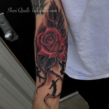 Tattoos - Realistic Rose with Children Silhouette by Shari Qualls at Lucky Bella Tattoos in North Little Rock Arkansas - 138336