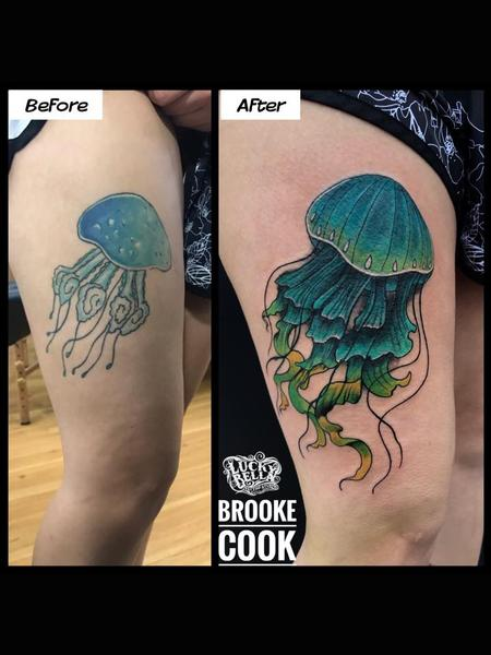 Tattoos - Jellyfish Fixup by Brooke Cook at Lucky Bella Tattoos in North Little Rock Arkansas - 138335