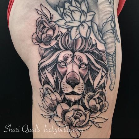 Tattoos - Illustrative Lion by Shari Qualls at Lucky Bella Tattoos in North Little Rock Arkansas - 138746