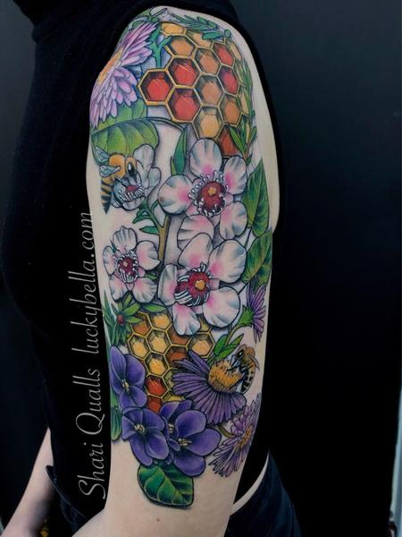 Manuka Honey Half Sleeve by Shari Qualls at Lucky Bella Tattoos in North Little Rock Arkansas Design Thumbnail