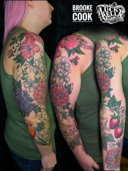 Tattoos - Floral Sleeve in Progress by Brooke Cook at Lucky Bella Tattoos in North Little Rock Arkansas - 140443