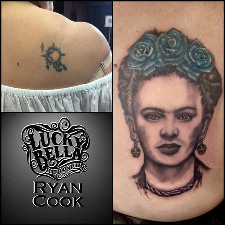 Tattoos - Frida Kahlo Coverup by Ryan Cook at Lucky Bella Tattoos in North Little Rock  - 140872