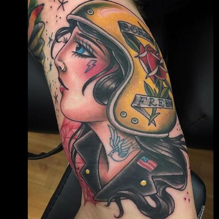 Tattoos - Americana Biker Girl by Howard Neal at Lucky Bella Tattoos in North Little Rock  - 141038