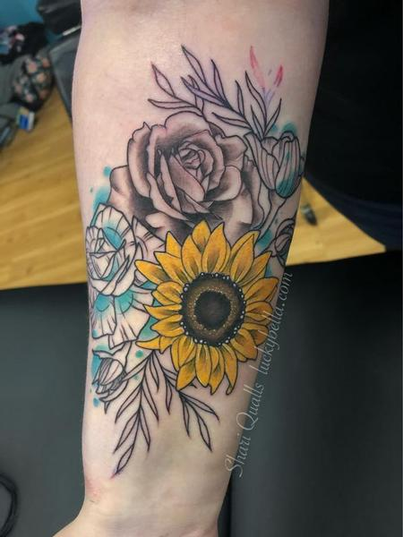 Tattoos - Stylized Flowers on Forearm  - 141522