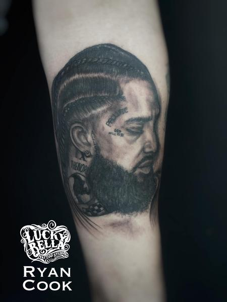 Ryan Cook - Nipsey Hussle Portrait by Ryan Cook at Lucky Bella Tattoos in North Little Rock