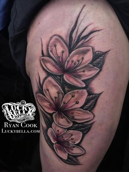 Tattoos - Large Cherry Blossoms on Thigh by Ryan Cook at Lucky Bella Tattoos in North Little Rock  - 138423