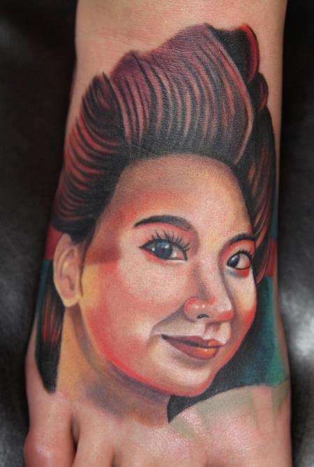 Tattoos - colored realistic portrait of asian woman tattoo - 64291