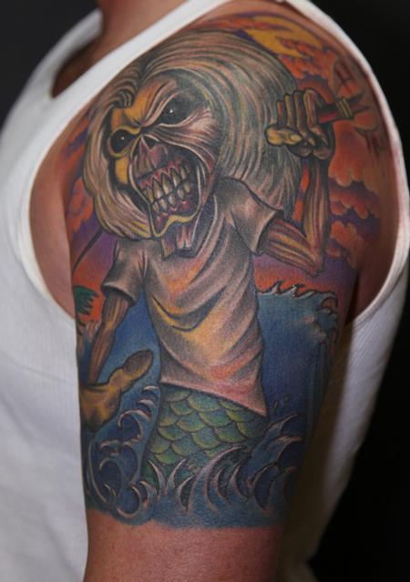 Tattoos - colored portrait of eddie from iron maiden tattoo - 64300