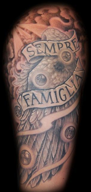Tattoos - Angel Wing and Zodiac Tattoo - 62013