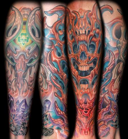 Tattoos - Bio Organic Skull and Crystal Tattoo - 64521