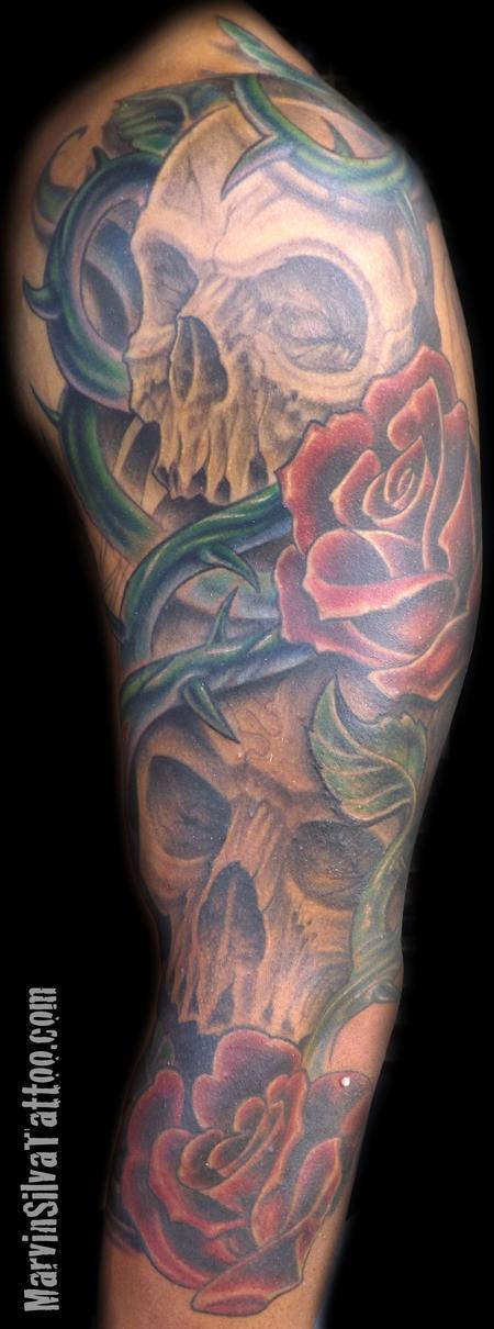 Tattoos - Skulls Roses and Vines Tattoo - 68692