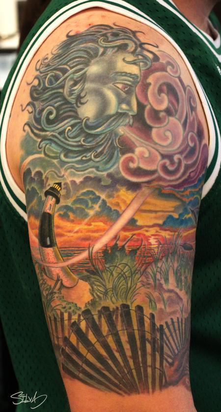 Tattoos - Custom Long Island Lighthouse Tattoo - 98447