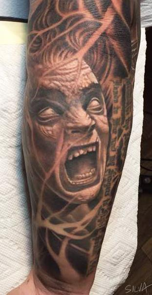 Tattoos - Black and grey face - 134275