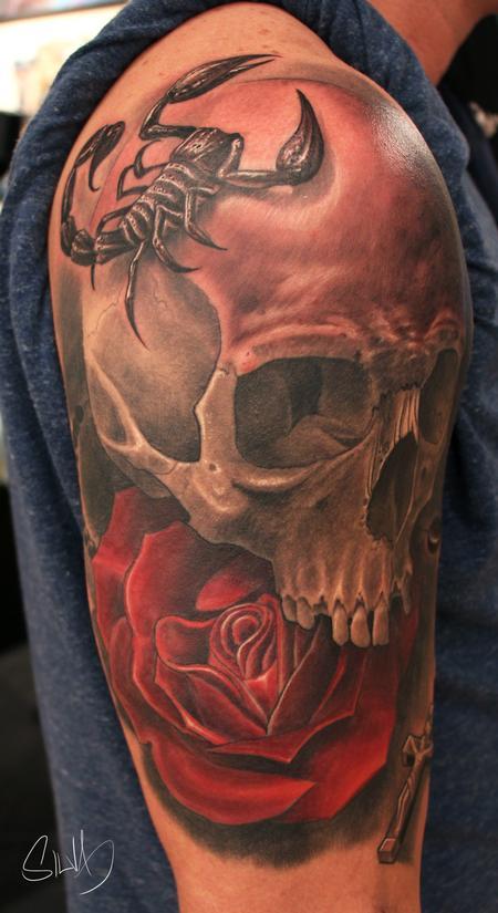 Tattoos - Custome Skull Scorpion Rose Tattoo - 114284